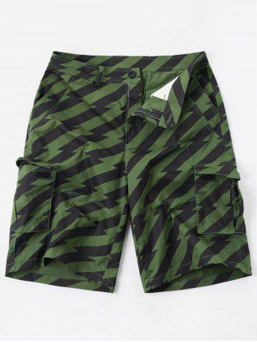 Diagonal Stripe Zipper Fly Multi-pocket Cargo Shorts