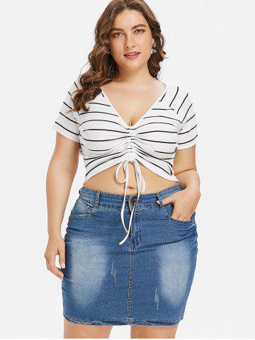 Outfit Plus Size Stripe Crop Tee