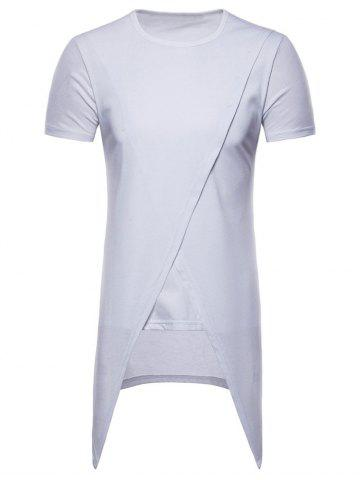 Oblique Clipping High Low Hem Tee
