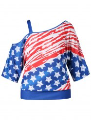 Plus Size Skew Collar American Flag T-shirt -