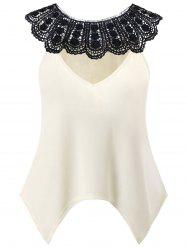 Plus Size Crochet Lace Keyhole Blouse -
