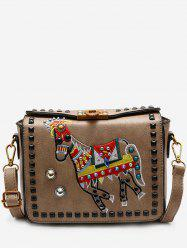 Faux Leather Embroidery Studded Crossbody Bag -