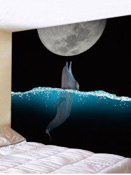 Wall Hanging Art Moon Night Dolphin Print Tapestry -