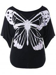 Butterfly Print Plus Size Round Neck T-shirt -