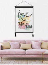 Peinture à Suspendre au Mur avec Pompons et Imprimé Inscription Love Is All You Need -