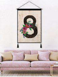Flower Leaf 8 Printed Tassel Wall Hanging Painting -