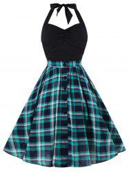 Retro Halter Ruched Plaid Swing Dress -