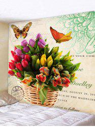 Wall Hanging Art Flowers and Butterfly Print Tapestry -