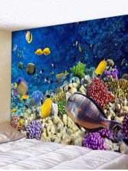 Sea Bottom Colorful Fishes Print Wall Hanging Tapestry -