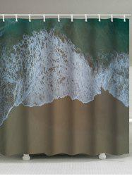 Beachside Wave Print Waterproof Shower Curtain -