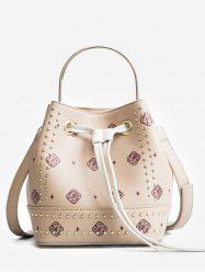 Studded Strawstring Bucket Bag with Handle Strap -