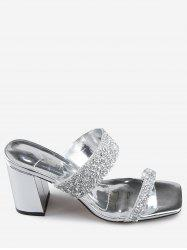 Faux Crystal Chunky Heel Slip On Pumps -