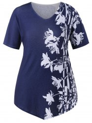 Plus Size V Neck Floral T-shirt -