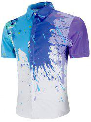 Casual Paint Splash Print Hidden Button Shirt -