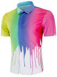 Rainbow Paint Print Short Sleeve Shirt -