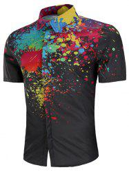 Hidden Button Watercolor Splash Print Shirt -