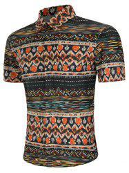 Ethnic Fish Print Hidden Button Shirt -