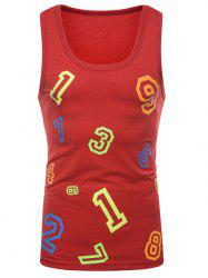 Colorful Numbers Print Tank Top -