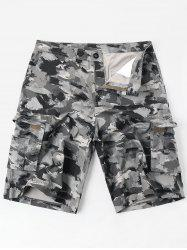 Casual Zipper Fly Oil Paint Print Cargo Shorts -