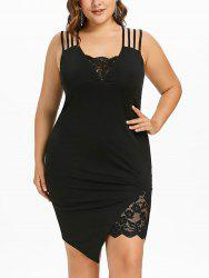 Plus Size Asymmetric Knee Length Strappy Dress -
