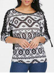 Criss Cross Sleeve Geometric T-shirt -