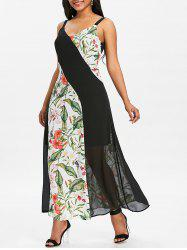 Floral Print Panel Chiffon Long Dress -