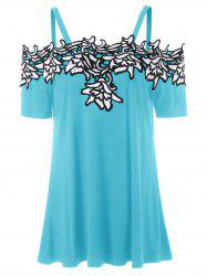 Cold Shoulder Contrast Lace Applique T-shirt -