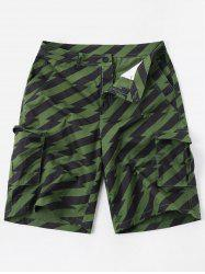 Diagonal Stripe Zipper Fly Multi-pocket Cargo Shorts -