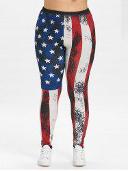 Plus Size Splatter Paint Patriotic Leggings -