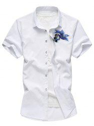 Button Up Embroidery Paillette Fish Shirt -