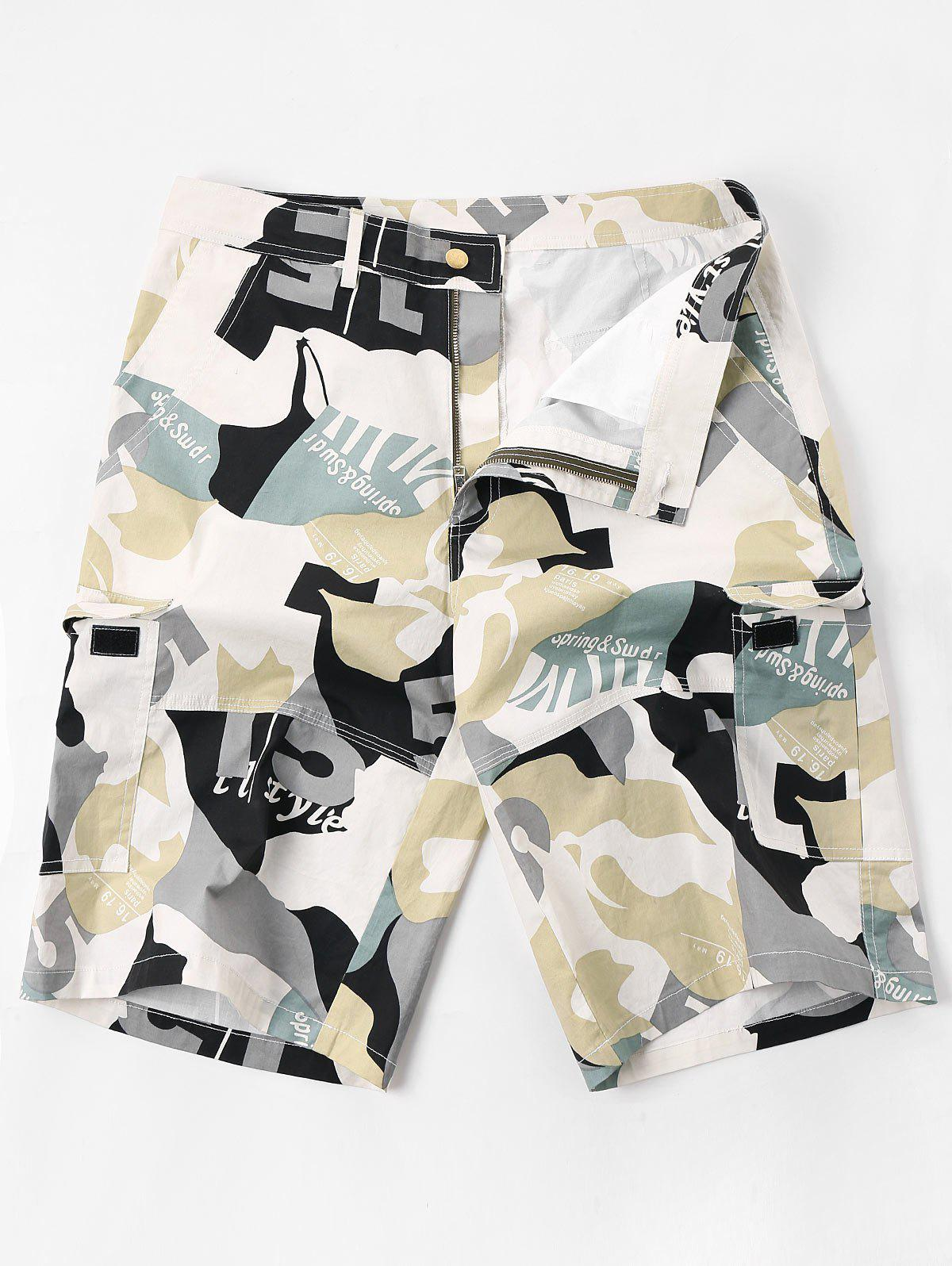 Buy Letter Camouflage Print Multi-pocket Cargo Shorts