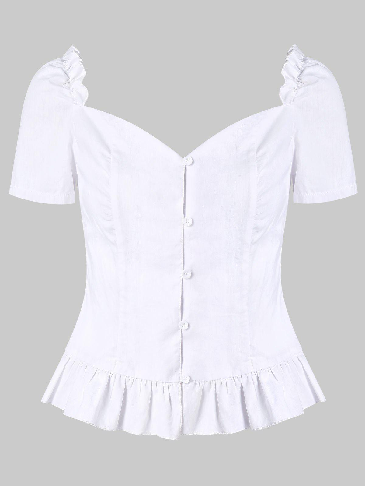 Affordable Ruffle Smocked Sweetheart Neck Blouse