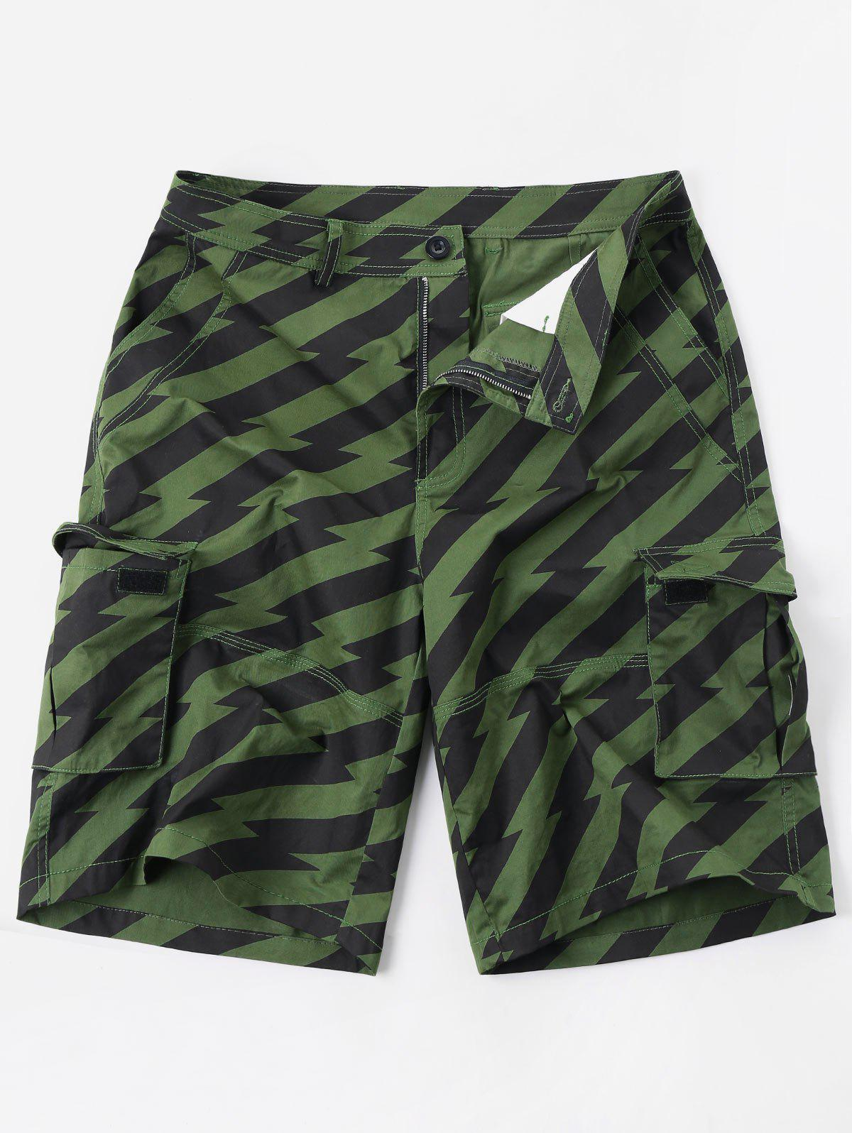 Sale Diagonal Stripe Zipper Fly Multi-pocket Cargo Shorts