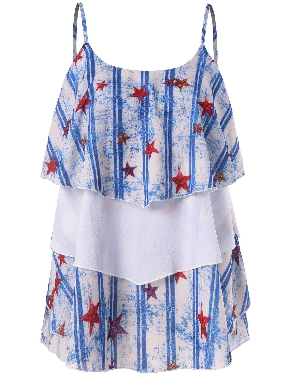 Chic Stars Stripes Printed Layered Cami Top