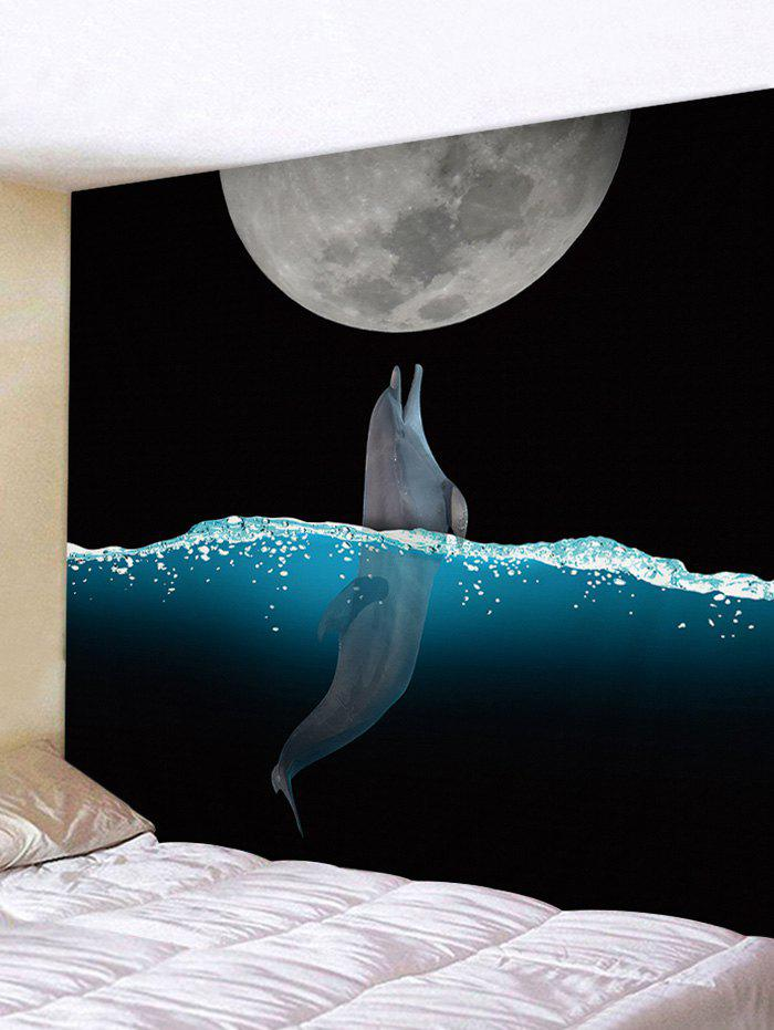 Shops Wall Hanging Art Moon Night Dolphin Print Tapestry
