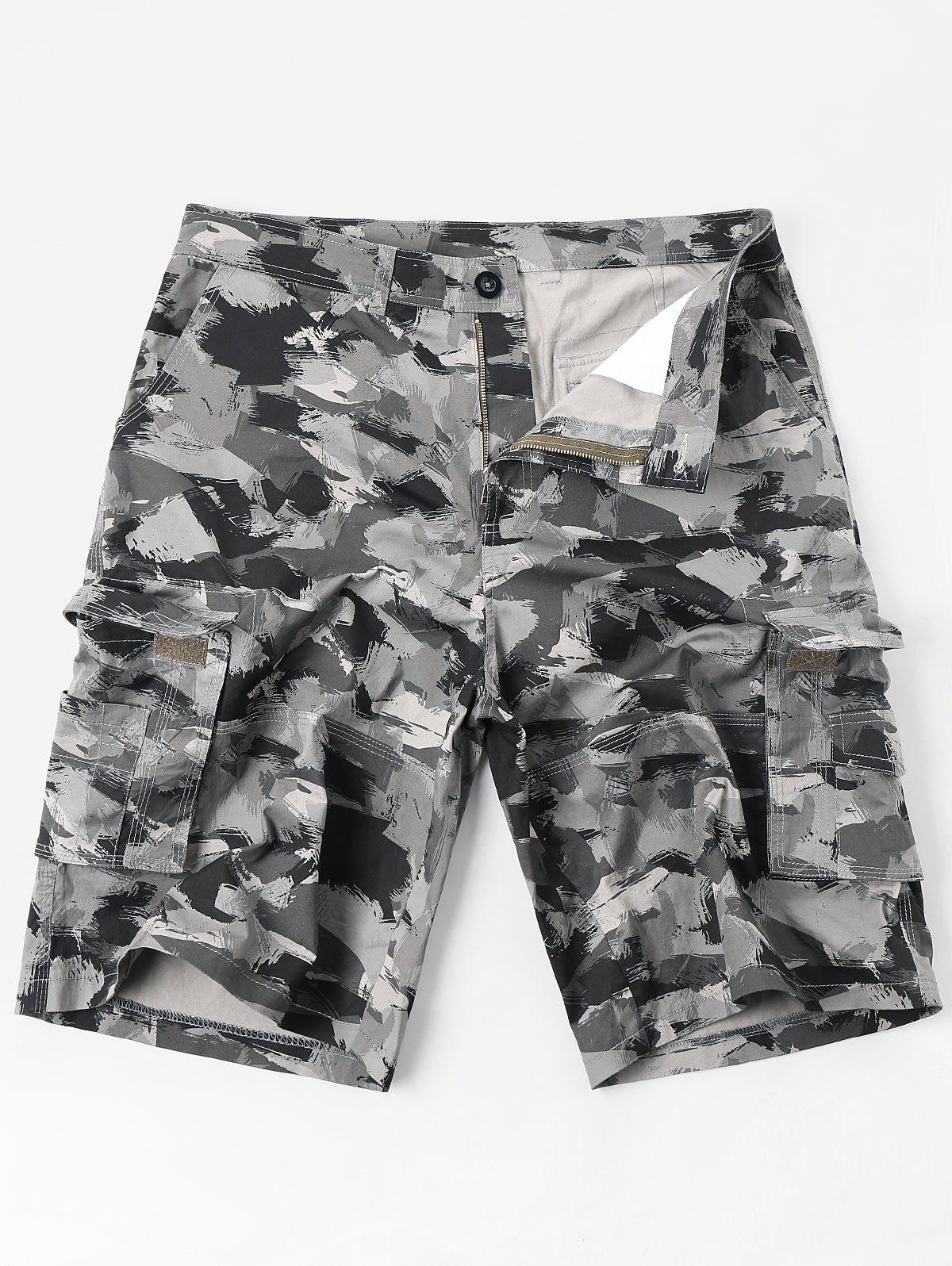 Outfit Casual Zipper Fly Oil Paint Print Cargo Shorts