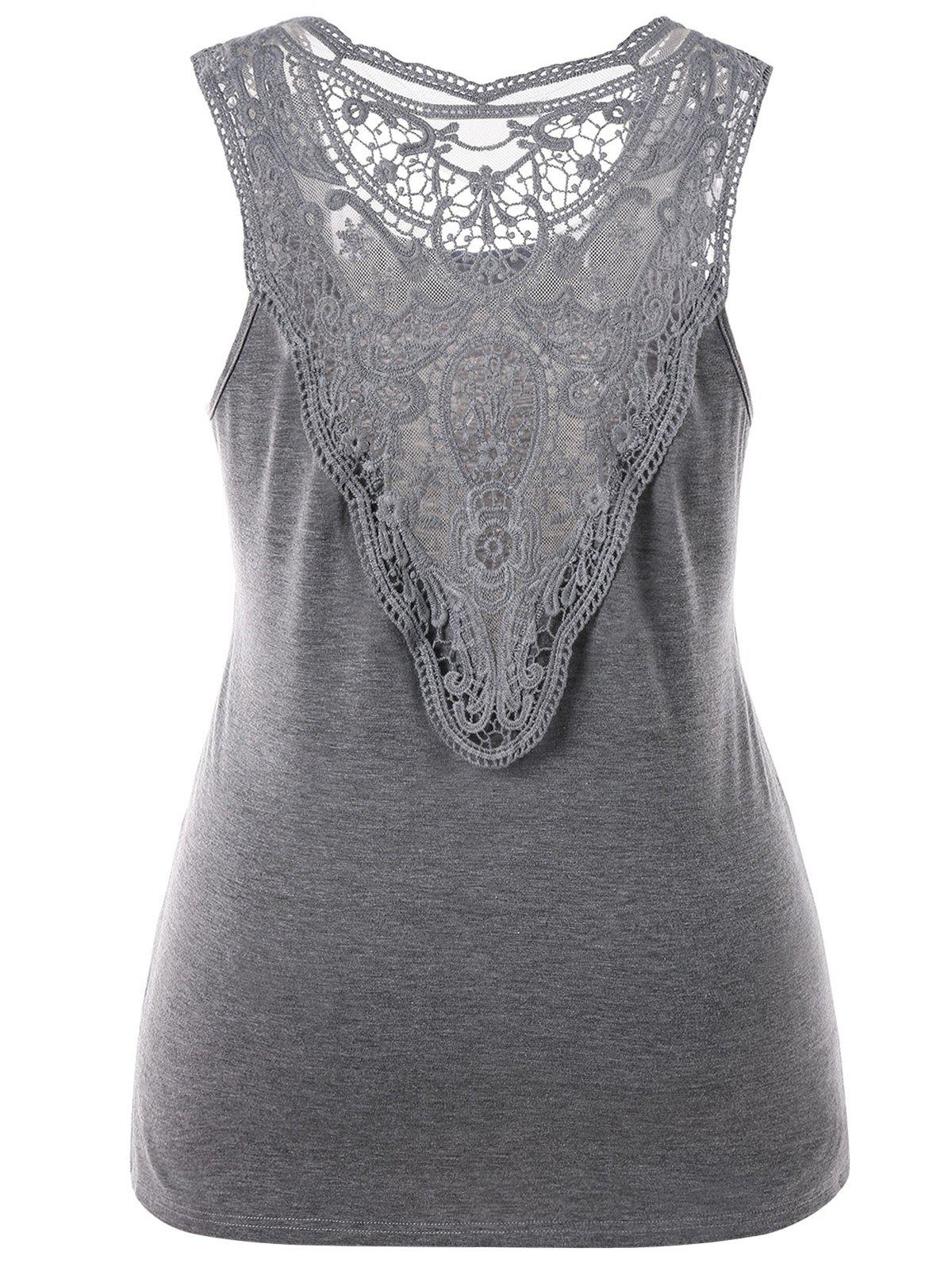 Affordable Plus Size Sleeveless Crochet Lace Top