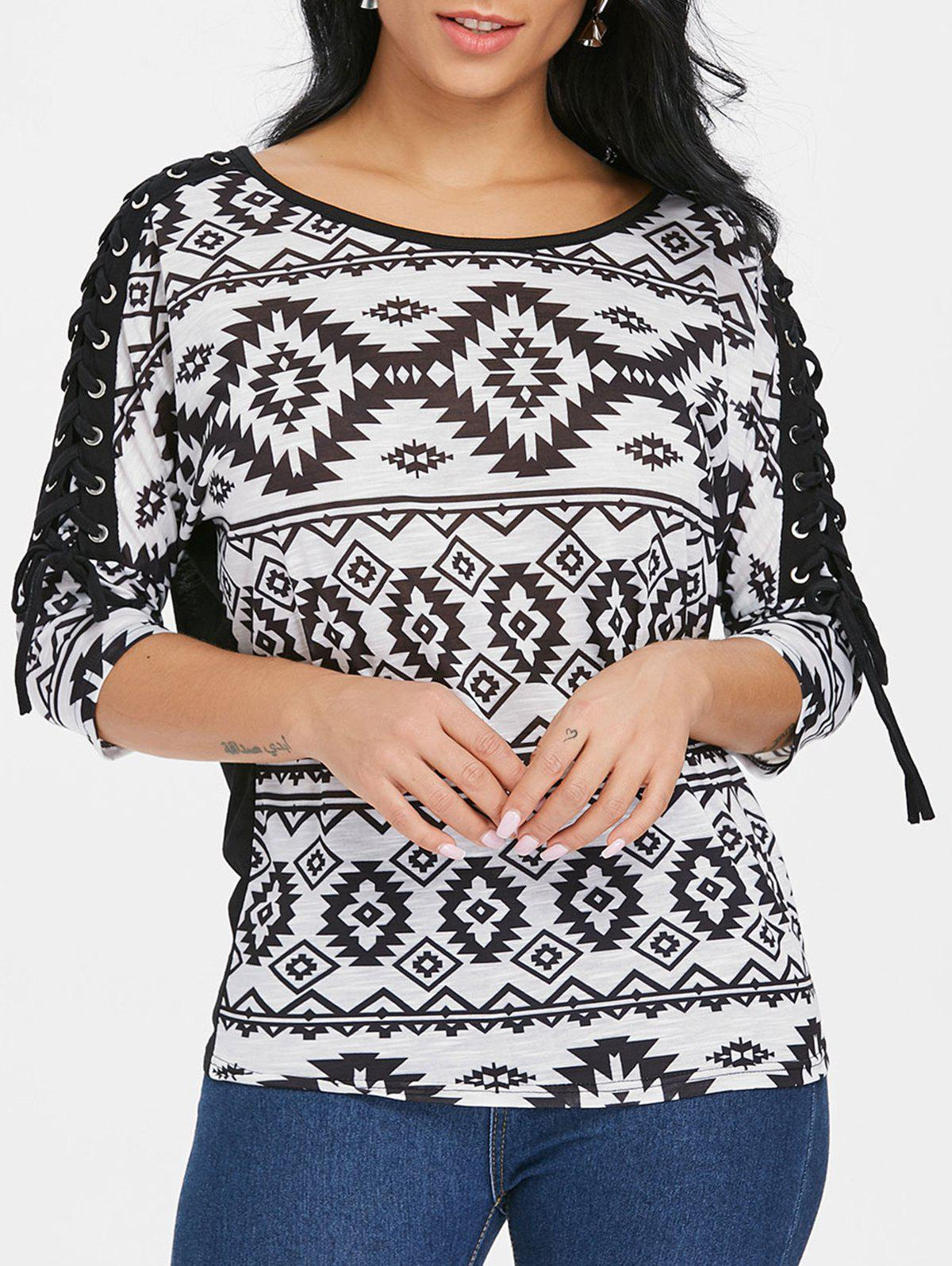 Unique Criss Cross Sleeve Geometric T-shirt