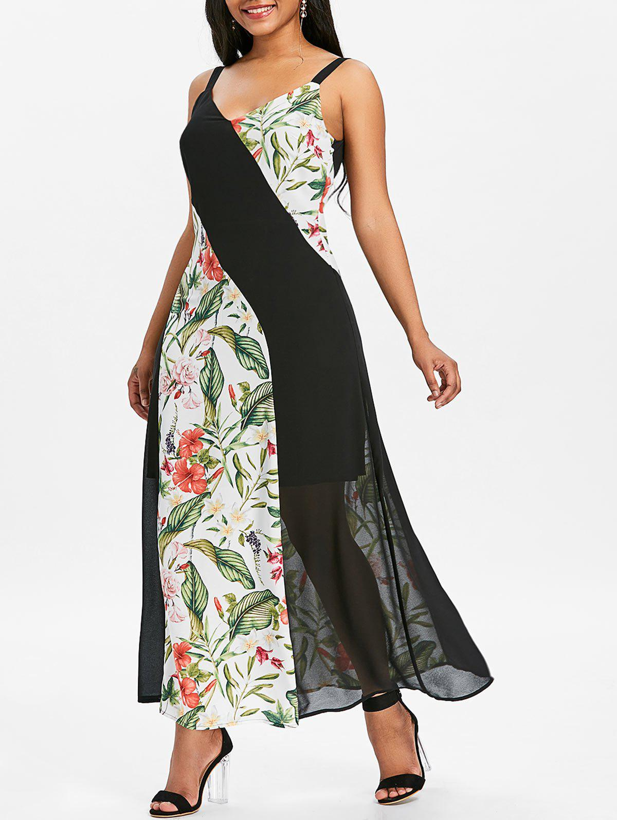Unique Floral Print Panel Chiffon Long Dress