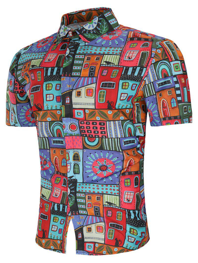 Discount Allover House Print Short Sleeve Shirt