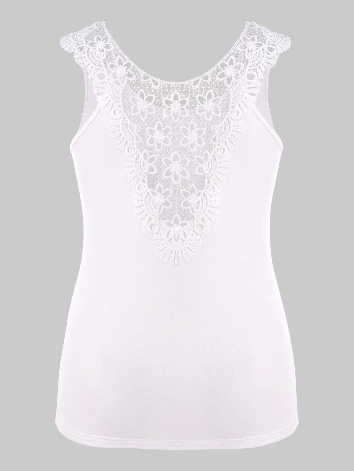 Store Plus Size Cutwork Lace T-shirt