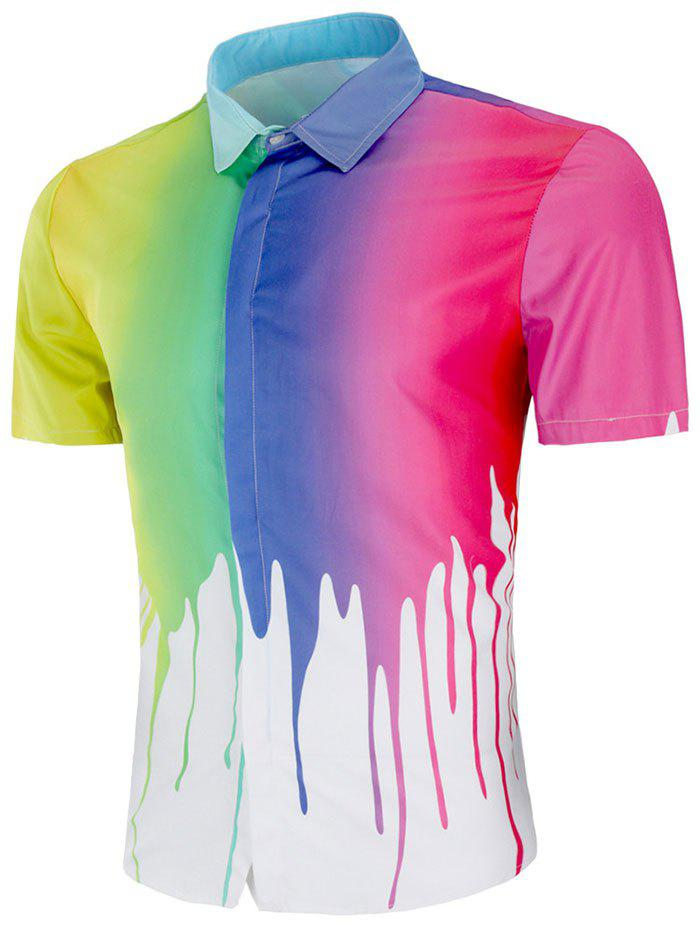Fashion Rainbow Paint Print Short Sleeve Shirt