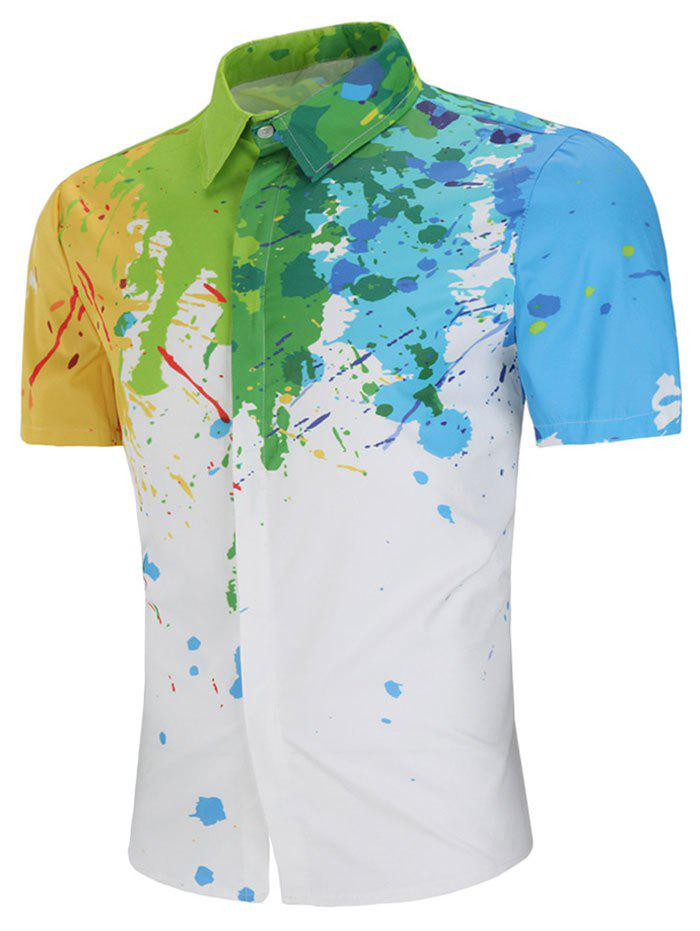 Online Colorful Paint Splash Print Short Sleeve Shirt
