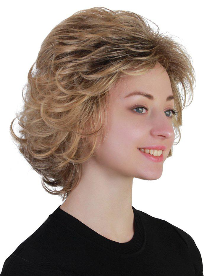 Sale Short Side Bang Fluffy Colormix Slightly Curly Synthetic Wig