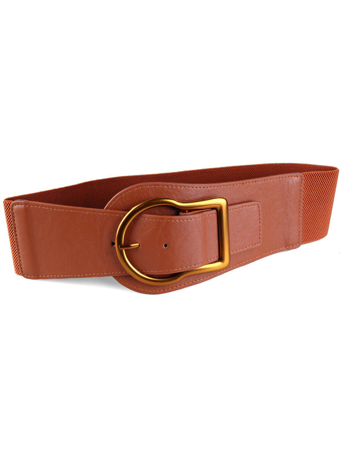 Fashion Retro Gold Metal Buckle Faux Leather Wide Waist Belt