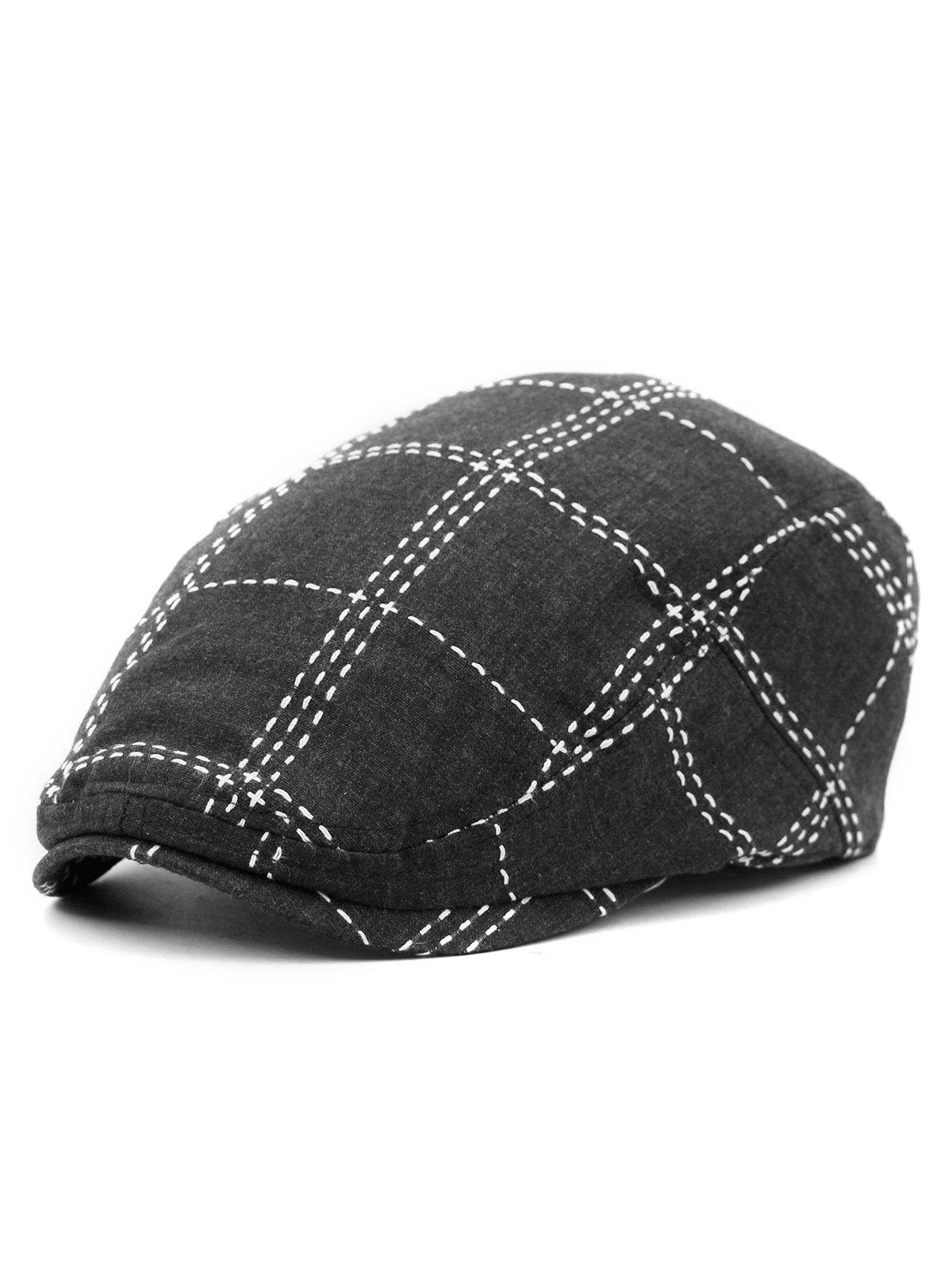 Store Plaid Pattern Embroidery Jeff Hat