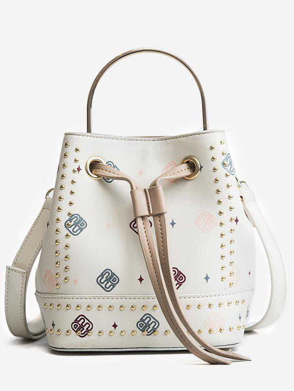 Store Studded Strawstring Bucket Bag with Handle Strap