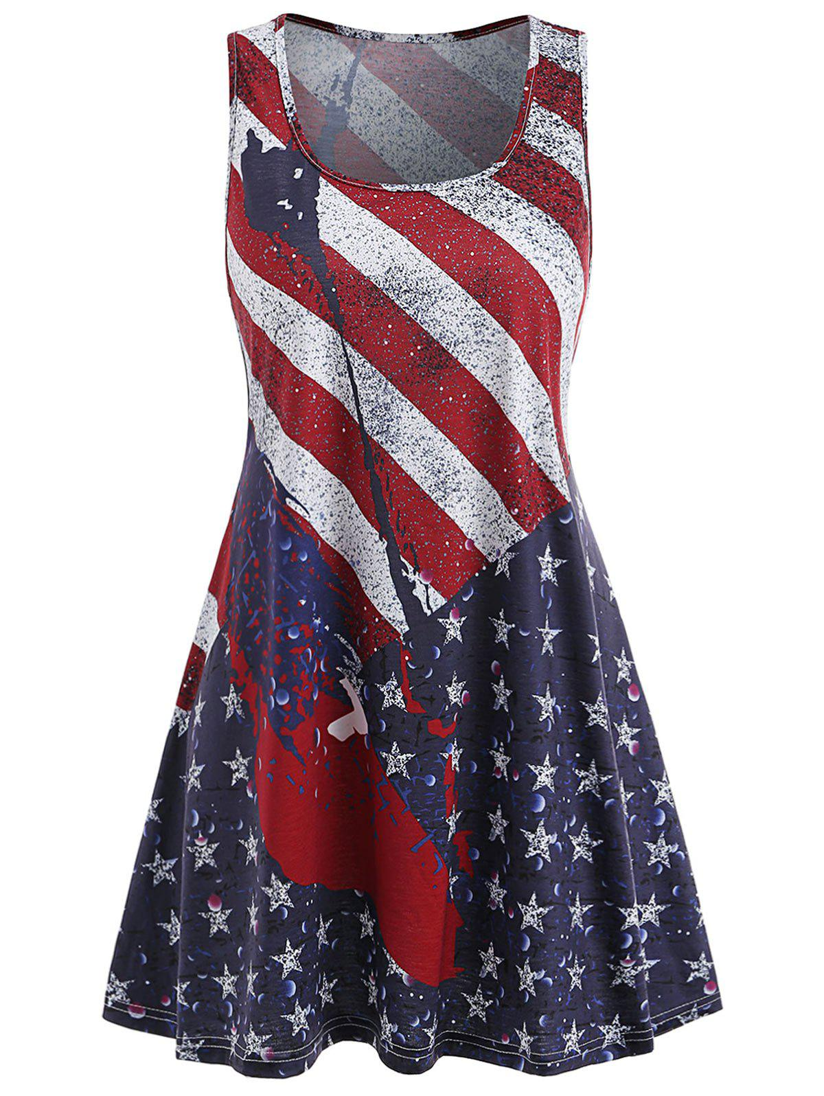 Affordable Patriotic American Flag Tunic Dress