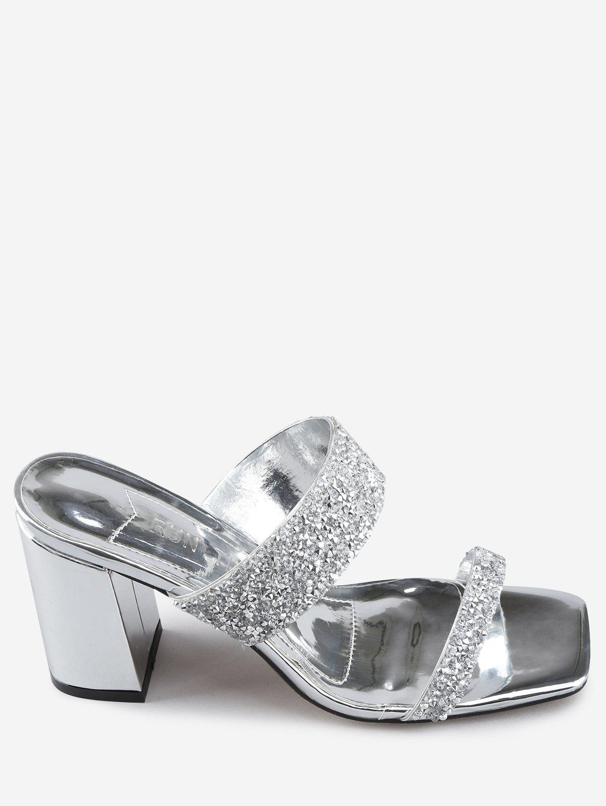 Online Faux Crystal Chunky Heel Slip On Pumps