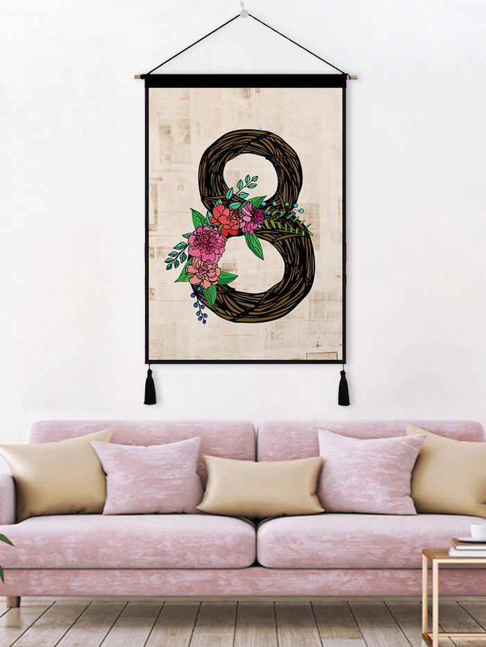 Store Flower Leaf 8 Printed Tassel Wall Hanging Painting